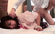 Horny college japanese girl taking shaft doggy style in bed