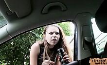 Russian slut Marina fucked in a backseat
