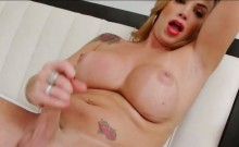 Busty shemale Julie Berdu splatters cum all over her tummy