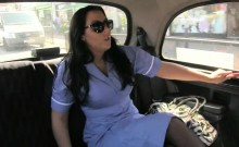 Busty nurse slut fucked in the backseat