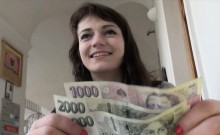 Eurobabe Aimee flashes her small tits and fucked for cash